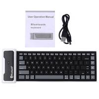 Al por mayor-85 Claves Bluetooth 3.0 Teclado USB plegable impermeable teclados de silicona flexible para el ordenador portátil Notebook Tablet Computer PC Phone