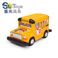 american school buses - Children s toy car model alloy car back lovely Q version of multicolor American boys and girls school bus model car gift