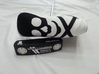 Wholesale factory golf club skull black putter with headcover freeshipping