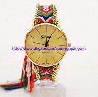 Wholesale 3 Colors Fashion Geneva Handmade Rope Bracelet Women Watch Hand Woven Watch Ladies women dress Quarzt Watch