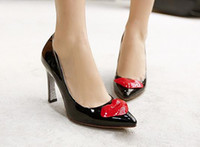Wholesale Women Pumps Pointy Toe Sexy Red Mouth High Heels PU Leather Shoes white red black