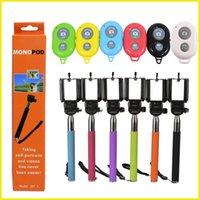 Wholesale Extendable Handheld Self portrait Monopod selfie stick Photograph Bluetooth Shutter Camera Remote Control monpod shutter clip colorful