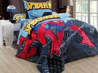 Wholesale Cartoon Spider man Coral fleece children Bedding Set Frozen Elsa Sofia Kid Rasche Bedding Gift