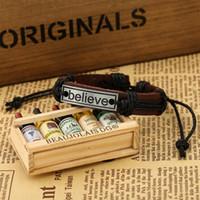 Wholesale Antique Charm Bracelets alloy tag ID Love Believe Leather Bracelets women punk adjustable Wrist bands bangles jewelry