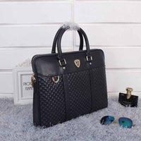 Wholesale Fashion black blue genuine leather briefcases men