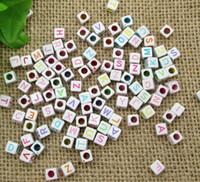 alphabet cubes - White Multicolor Acyrlic Letter Alphabet Cube Beads x6mm