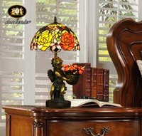 lamps stained glass - European Classical Table Lamp Stained Glass Rose Angel Retro Bedroom Bedside Lamp Desk Lamp Reading Lamp Entrance Lamp