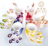 Wholesale High quality Peacock Cup mugs Ceramic porcelain enamel couple cups wedding birthday gift creative tea cup Six color Optional