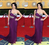 Cheap 2014 Sexy Kim Kardashian in Red Carpet Dresses Plus Size One Shoulder Beaded Applique Purple Chiffon Sweep Train Evening Gowns Prom Dresses