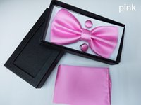 red bow tie - Men s bow tie solid variety of colors Suite Bow Tie Hanky with Cufflink Set silk