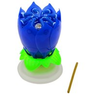 Wholesale Beautiful Flower Blossom Lotus Sparkle Musical Candle for Birthday Party Decoration