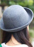 america curl - YL003 Adult hat cm unisex Bowler hat in Europe and America British retro wool hat curling cute skullcaps