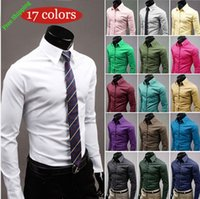 Wholesale 2015 The new men s casual shirt long sleeved shirt business shirt color High quality menswear