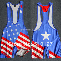 Wholesale American Flag School Team Wrestling Singlet Weight Lifting Gym Outfit Open Back Tight Bodywear Custom available