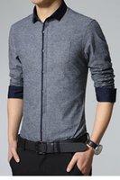 Wholesale 2015 Casual Male Dress Shirt Light Gray Mens Long Sleeves Fashion Shirt LC14019 Long Sleeve camisa masculina