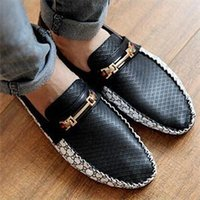 Wholesale 100 Brand New PU Leather Slip On Men casual Loafer Shoes Korean Style breathable Splice men s Comfy shoes