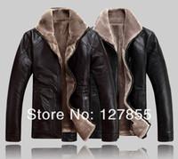 big mens leather jackets - Fall NEW winter mens fur collar genuine sheepskin leather jacket Big yards warm leather coat parka XL XL