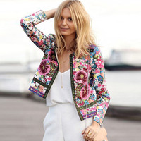 Wholesale Autumn Ladies Ethnic Printed Floral Embroidery Short Jackets Opened Sting Women Long Sleeve Outwear Coat Jacket OR666995