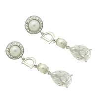 Wholesale GUST Brand Grand Elegant Earring Clip Long Ear Drop Pearl Bling Dangle Earrings Crystal Rhinestone Dating Party Women Girls E187