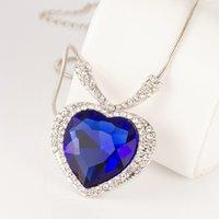 Wholesale Titanic Luxurious Large Women Crystal Necklaces quot The Heart of the Ocean quot Blue Pendants Necklaces