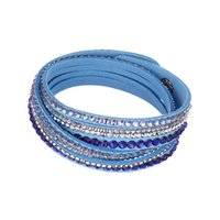 Wholesale Double layers leather crystal bracelet rhinestone wrap bracelets Fashion handmade velvet wrap charm bracelets for women jewelry