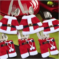Wholesale For Christmas Decor Prop Handmade Santa Mini Clothes Pants Shaped Christmas Cutlery Suit Silverware Holder Knives and Forks Pockets