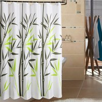 Wholesale Thickening waterproof bathroom terylene shower curtain mould proof Bamboo design polyester curtain with hook