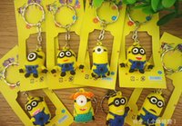 Wholesale Soft Animal Keyrings - Despicable Me2 keychains Minions Action Figure cartoon Keychain Keyring Key Ring 8 Design Cute Three-dimensional soft rubber key chain
