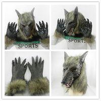 bar wolf - New High grade brown wolf head wolf gloves latex mask Halloween Horror Animal Set Bar dance props