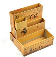 Cheap 1 Pcs Cartoon DIY Paper Board Fairy Tale Storage Box Desk Stationery Makeup Cosmetic Organizer 12.5x13x10.5cm