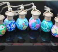 Wholesale Clay Perfume Bottles - Fashion 12ml clay empty perfume bottle Car hang decoration Ceramic Hang rope essential oil Perfume bottle random colors styles