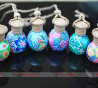 Wholesale Fashion ml clay empty perfume bottle Car hang decoration Ceramic Hang rope essential oil Perfume bottle random colors styles