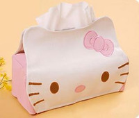 Wholesale 5pcs PU Hello KITTY Cute Home Desk Car Tissue Case Box Container Towel Napkin Papers BAG Holder BOX Case Pouch