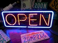 Wholesale RED BULE OPEN NEON SIGN HANDICRAFT CUSTOM REAL GLASS TUBE LIGHT SIGNS BAR BEER PUB STORE HUNG WALL