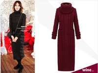 Wholesale Europe and the United States Fall and Winters Long Knitting Dress Fashion Gentiana Stitch Turtle Neck Long Sleeve Thicken Sweater Dress