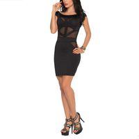 Bodycon Dresses bar ladies night - 3pcs Elegant Black Short Sleeves Dress Translucent Lace Slims Dresses Ladies Nightclub Pub Bar Apparels NL481