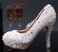 Cheap White Lace Flower Wedding Dress Shoes Bridesmaid Shoes Bridal Shoes Banquet Evening Party Prom Princess Shoes Low Middle High heel