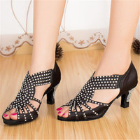 Wholesale Ms ballroom dance shoes Latin dance shoes satin material professional cm and cm heels three colors clz0227