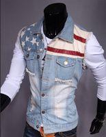 Wholesale Free shippimg autumn and winter outdoor hot selling high quality fashion men sleeveless denim vest pentagram printing new JB403K