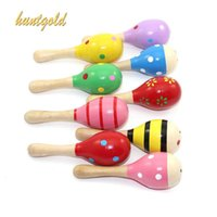 Wholesale Mini Wooden Noise Maker Percussion Musical Instruments Sand Hammer Baby Kids Shake Toy Gift Pc