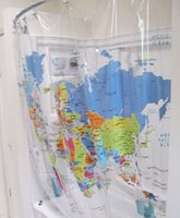 Wholesale Hot sale PEVA World Map Shower Curtain cm Super waterproof shower curtain learning world geography while bathing