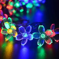 christmas decoration light - Solar Panels Peach Blossom Solar Fairy String Lights for Room Home Garden Christmas Party Decoration purple Leds SS A