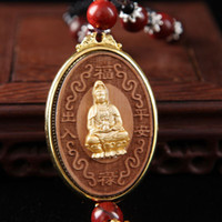 Wholesale Gifts sandalwood beads Guanyin Buddha pendant car car accessories boutique car pendant mixed