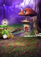 Wholesale 200cm cm ft ft ouble mushroom houses flower beds forest land photography backdrops backgrounds for photo studio