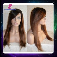Cheap Ombre Color full lace human hair wigs Best Yaki Straight Brazilian hair lace front hair wigs