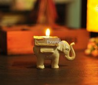 candles and candle holders - New Lucky Elephant Candle Holder with Card for Wedding Favors Lucky Elephant Antique Ivory Tea Light Candle Holders Best gifts DHL