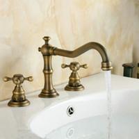 antique brass bathtub faucet mixer - 3Pcs Faucet Sets Antique Brass Double Handle Bathroom Bathtub Basin Sink Mixer Tap Faucets AF1028