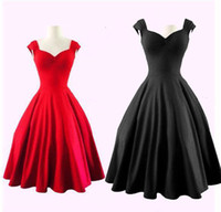 audrey red - Audrey Hepburn Style s s Vintage Women Casual Dresses Inspired Rockabilly Swing Evening Party Dresses for Women Plus Size