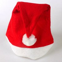 Wholesale Order Retail Adult Unisex nonwoven fabric Red And White Soft Santa Claus Hat Christmas hats