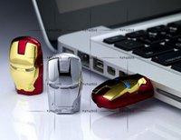 Wholesale Hot Sale GB GB GB LED Iron Man Memory Stick Flash Drive Storage USB Silver Tone Gold Red Silver LED Iron Man Pendrives